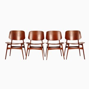Danish Model No. 155 Teak Chairs by Børge Mogensen for Søborg Møbelfabrik, Set of 4