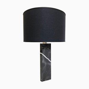 Lámpara de mesa esculpida de mármol negro de Brajak Vitberg