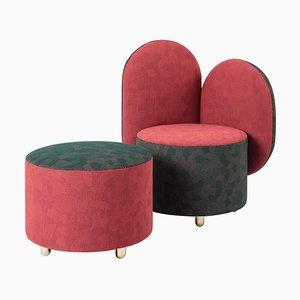 Half Half Armchair with Ottoman Designed by Thomas Dariel
