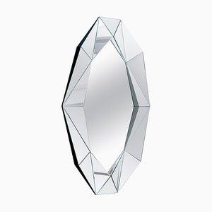 Großer Versilberter Dekorativer Diamant Spiegel
