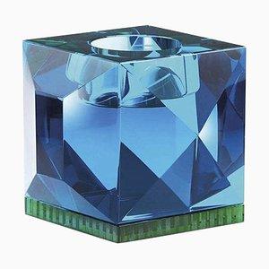 Ophelia Azurblau Kristallglas T-Lampenfassung aus handgemeißeltem zeitgenössischem Kristallglas