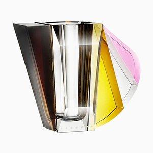 NYC Contemprary Vase aus handgemeißeltem zeitgenössischem Kristallglas