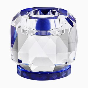 Texas Kobalt Kristallglas T-light, Handsculpted Contemporary Kristallglas
