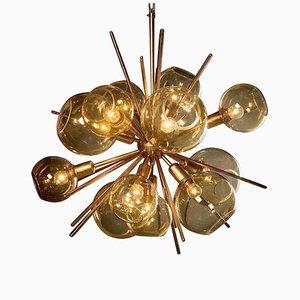 Goldene Hängelampe aus geblasenem Glas