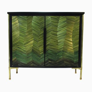Cusco Sculpted Marquetry Cabinet, Signed by Stefan Leo