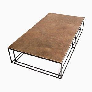 Grande Table Basse Artisanale en Laiton et Acier Signée par Novocastrian