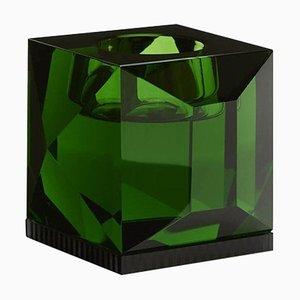 Portacandela Ofelia in cristallo verde, cristallo contemporaneo scolpito a mano