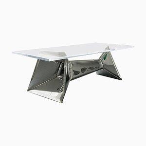 Table en Cristal et Acier Inoxydable, Zieta