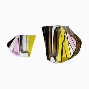 NYC Contemprary Vasen aus handgemeißeltem zeitgenössischem Kristallglas