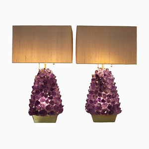 Pair of Amethyst Lamps, Demian Quincke