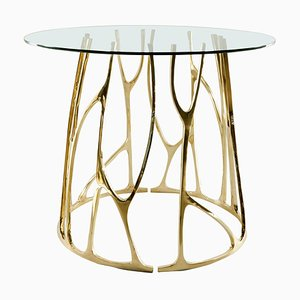 Brass Sculpted Round Table, Golden Roots, Misaya