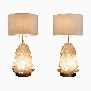 Paar Tischlampen aus natürlichem Kristallglas, signiert von Demian Quincke
