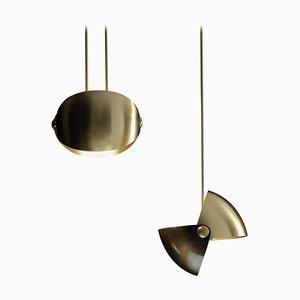 Pair of Eirene Brass Italian Pendant Lamp