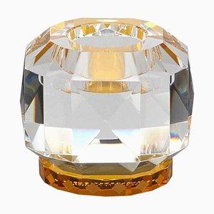 Bernsteinfarbene Kristallglas T-Lampe aus handgemeißeltem zeitgenössischem Kristallglas