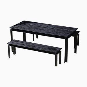 Cendre Set aus Tisch und Bänken von Jules Lobgeois