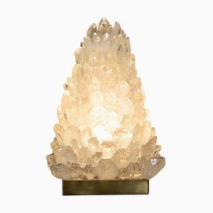 Tischlampe aus Bergkristall in Pyramidenform - signiert von Demian Quincke