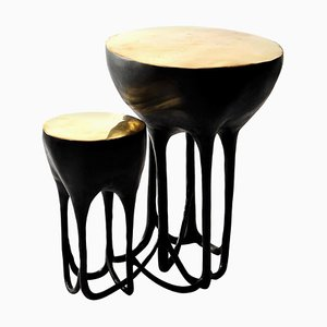 Brass Hand-Sculpted Side Table by Misaya