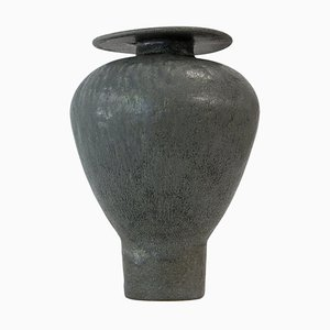 Greeny Black ''Isolated'' Glaze Stoneware Vase, Raquel Vidal and Pedro Paz