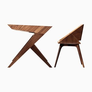 ''Locust'' Wood Desk with ''Nest'' Chair, Alexandre Caldas