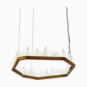 Downtown, White Selenite Pendant Lamp