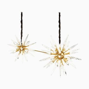 Double White Quartz Sputnik Pendant Light