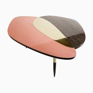 Brass and Veneer Sculptural Coffee Table, Une Fleur, Ivan Basov