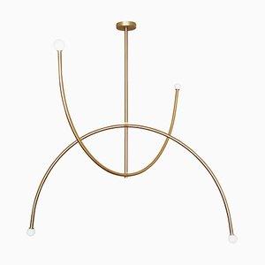 Lampe à Suspension '' Double Arche '' en Laiton, Carré en Cercle