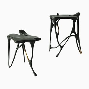 Pair of Calligraphic Sculpted Brass Side Tables by Misaya