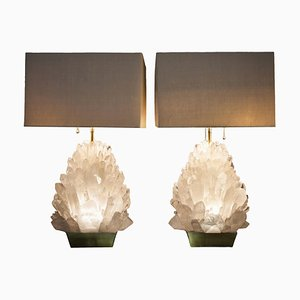 Pair of Natural Rock Crystal Lighting, Demian Quincke
