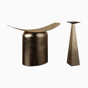 Pair of Contemporary Aged Brass Gueridon and Stool by Pietro Franceschini