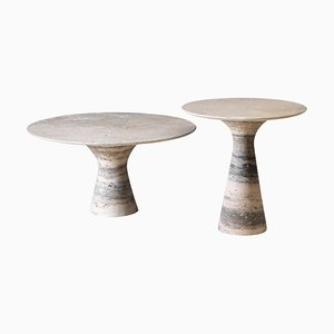 Refined Set of 2 Contemporary Marble Side Tables