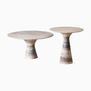 Set de 2 Tables d'Appoint Raffinées en Marbre