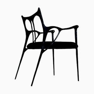 Black Brass Sculpted Brass Chair, Misaya