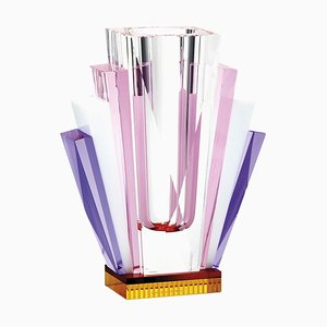 South Beach Crystal Vase, Hand-Sculpted Contemporary Crystal