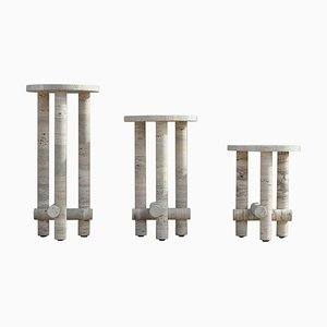 Ensemble of Travertine Side Tables by Clément Brazille