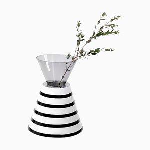 Keramik und Glas Vase von Eric Willemart