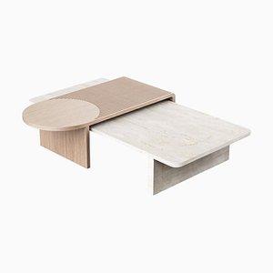 Table Sculptée Contemporaine en Travertin et Chêne par Dooq