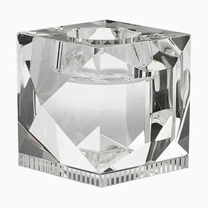 Ophelia Clear Crystal T-Light Holder, Hand-Sculpted Contemporary Crystal
