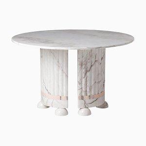 Mesa de comedor de mármol blanco y rosa de Dooq