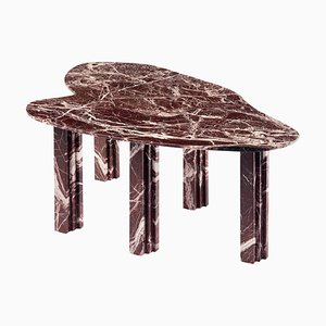 Sculptural Red Marble Dining Table Signed by Lorenzo Bini