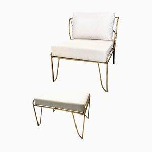 Brass Hand-Sculpted Armchair and Stool, Lena, Misaya