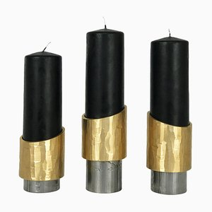 Set of 3 Unique Solid Brass Candleholders, Avalon by William Guillon