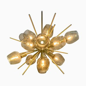 Brass Translucid Blown Glass Pendant Lamp
