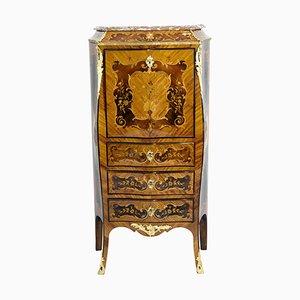 Antiker französischer Sekretär aus Palisander und Messing im Louis XV Stil mit Marmorplatte