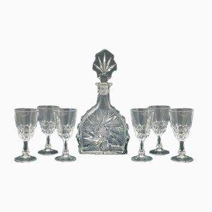 Italienische Mid-Century Kristallglas Karaffe und Gläser, 1950er, 7er Set