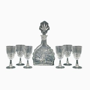 Mid-Century Italian Crystal Decanter and Glasses Set, 1950s, Set of 7