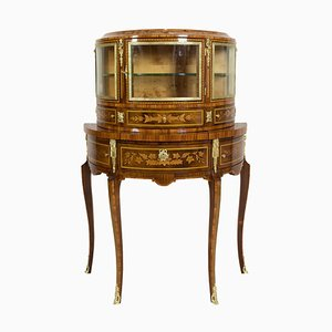 Antique Louis XVI Style Rosewood Demilune Display or Bar Cabinet