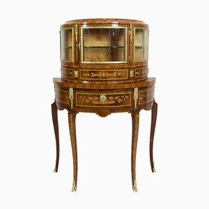 Meuble de Rangement ou Meuble de Bar Demi-Lune Antique Style Louis XVI en Palissandre
