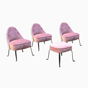 Mid-Century Italian Purple Velvet and Metal Lounge Chairs, 1950s, Set of 4
