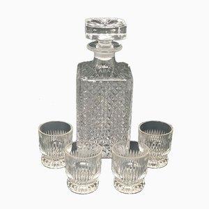 Italienisches Mid-Century Kristall Karaffen Set, 1950er, 5er Set